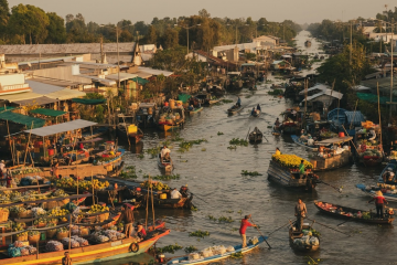 floating market Southwest Vietnam
