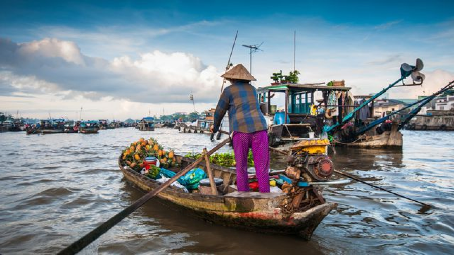 Floating markets in Mekong Delta