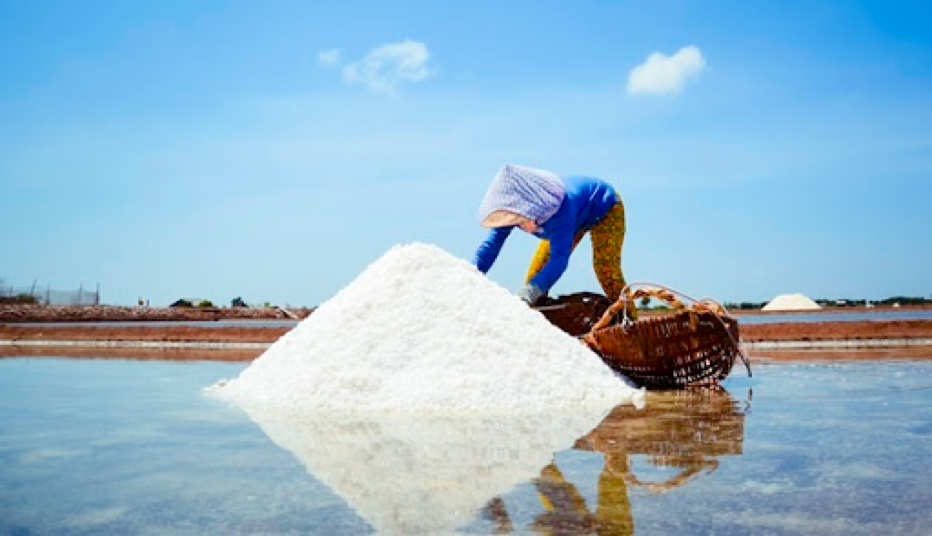 Salt making village in Vietnam