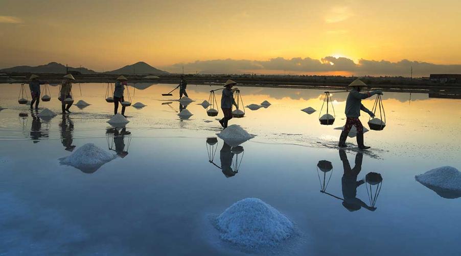 Salt making village in Vietnam